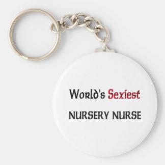 World's Sexiest Nursery Nurse Basic Round Button Key Ring
