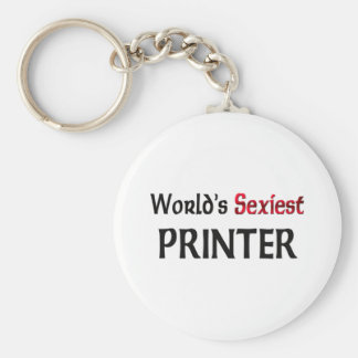 World's Sexiest Printer Basic Round Button Key Ring