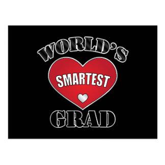 World's Smartest Grad Silver Red Heart Postcard