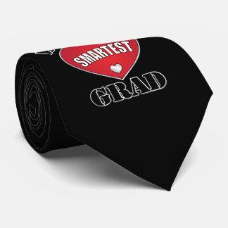World's Smartest Grad Silver Red Heart Tie