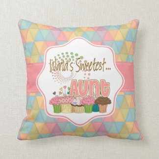 World's Sweetest Aunt Cupcake Edition Pattern Cushion