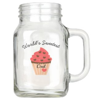 world's sweetest dad cupcake hearts mason jar