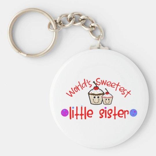 World's Sweetest Little Sister Cupcakes Basic Round Button Key Ring