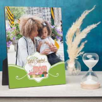 World's Sweetest Mom Cupcake Edition Pattern Photo Plaques