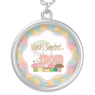 World's Sweetest Mom Cupcake Edition Pattern Silver Plated Necklace