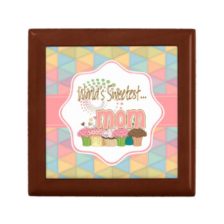World's Sweetest Mom Cupcake Edition Pattern Small Square Gift Box