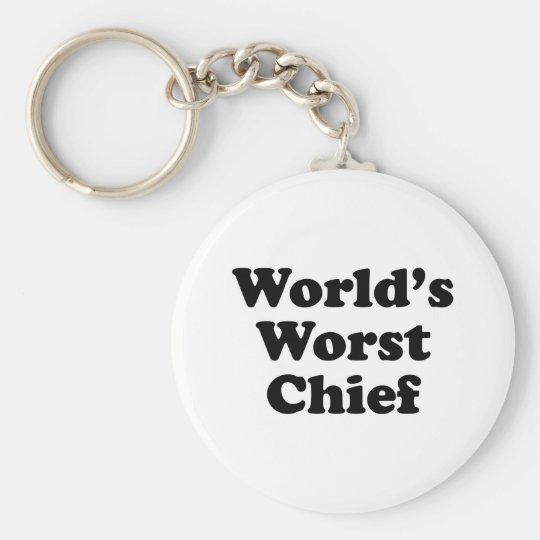 World's Worst Chief Basic Round Button Key Ring