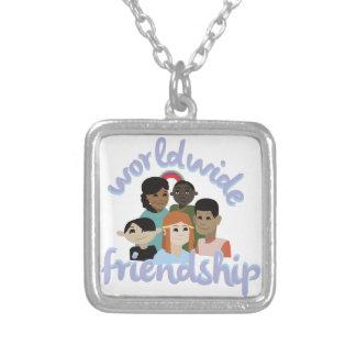 Worldwide Friendship Square Pendant Necklace