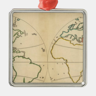 Worlp Map with 5 Zones Silver-Colored Square Decoration
