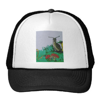 worm and snail art cap