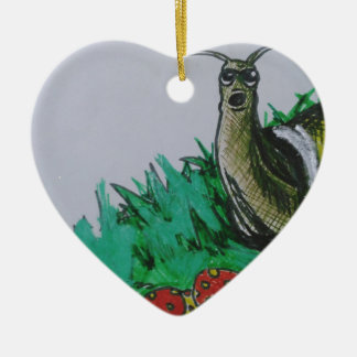 worm and snail art ceramic heart decoration
