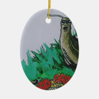 worm and snail art ceramic oval decoration