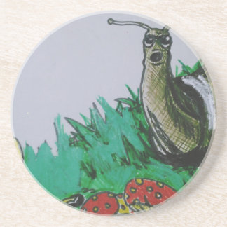 worm and snail art coaster