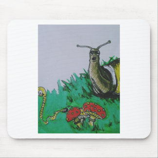 worm and snail art mouse mat