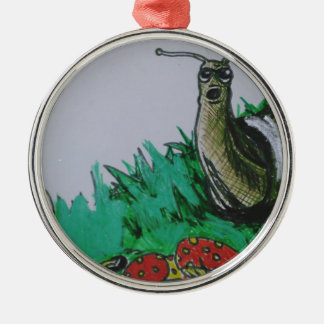 worm and snail art Silver-Colored round decoration
