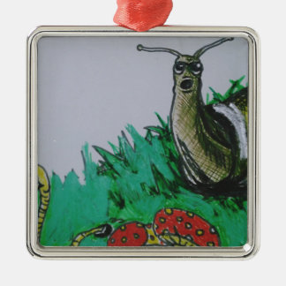 worm and snail art Silver-Colored square decoration