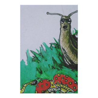 worm and snail art stationery