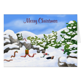worm Christmas card