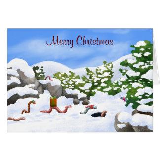 worm Christmas card