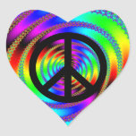Worm Hole with Black Peace Sign Heart Stickers