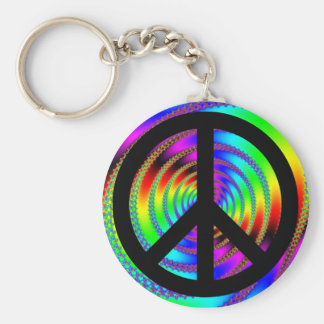 Worm Hole with Black Peace Sign Key Ring