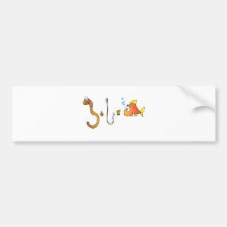 Worm + Hook = Fish Bumper Sticker