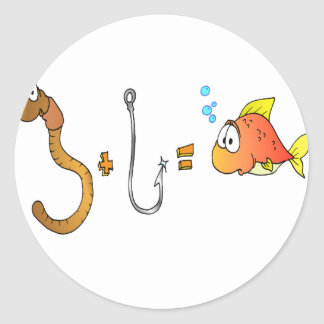 Worm + Hook = Fish Classic Round Sticker