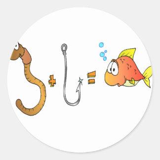 Worm + Hook = Fish Round Sticker