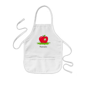 Worm In Red Apple With Name Aprons