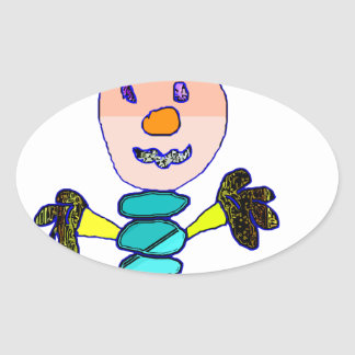 worm Man Oval Sticker