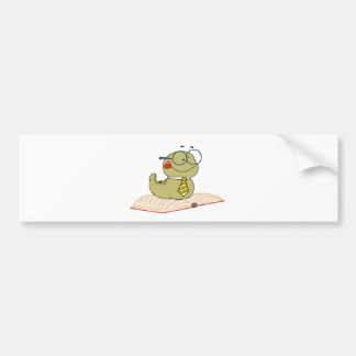 Worm On A Book Wearing Glasses Bumper Stickers