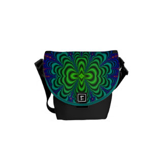 Wormhole Fractal Neon Green Space Tubes Messenger Bags