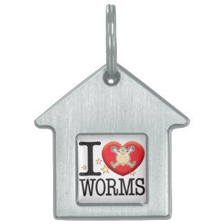 Worms Love Man Pet Name Tag