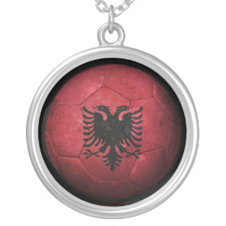 Worn Albanian Flag Football Soccer Ball Silver Plated Necklace