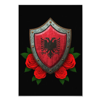 "Worn Albanian Flag Shield with Red Roses 3.5"" X 5"" Invitation Card"