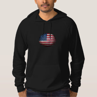Worn American Flag Football Soccer Ball Hoodie