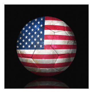 Worn American Flag Football Soccer Ball Personalized Invitation