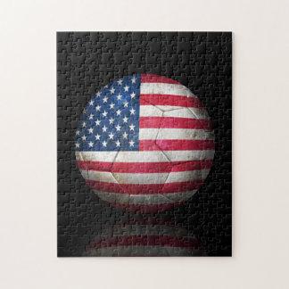 Worn American Flag Football Soccer Ball Jigsaw Puzzle