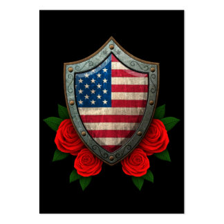 Worn American Flag Shield with Red Roses Business Cards