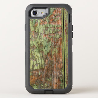 Worn and Weathered Green Barn Wood OtterBox Defender iPhone 7 Case