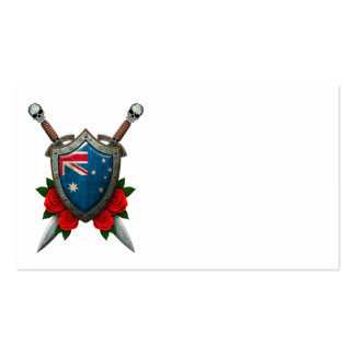 Worn Australian Flag Shield and Swords with Roses Double-Sided Standard Business Cards (Pack Of 100)