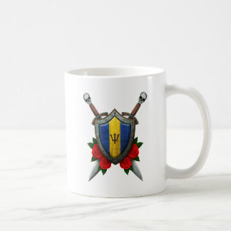 Worn Barbados Flag Shield with Red Roses Mugs