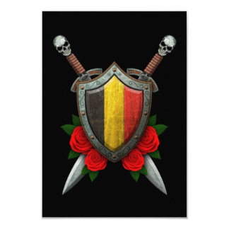 Worn Belgian Flag Shield and Swords with Roses Invitations