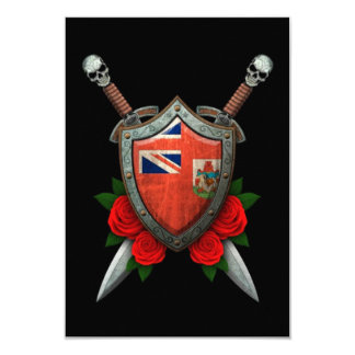 Worn Bermuda Flag Shield and Swords with Roses Announcements