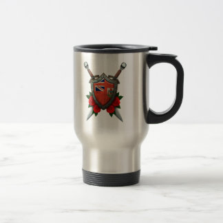 Worn Bermuda Flag Shield and Swords with Roses Coffee Mugs