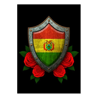 Worn Bolivian Flag Shield with Red Roses Large Business Cards (Pack Of 100)