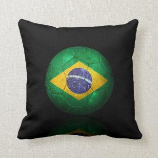 Worn Brazilian Flag Football Soccer Ball Cushion