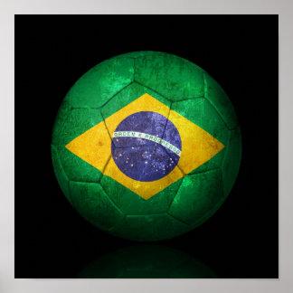 Worn Brazilian Flag Football Soccer Ball Print