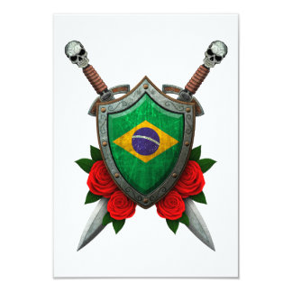 Worn Brazilian Flag Shield and Swords with Roses Custom Announcements