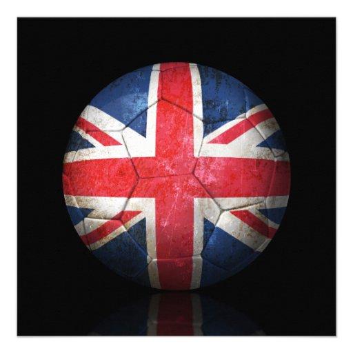 Worn British Flag Football Soccer Ball Custom Invitations